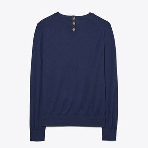 Tory Burch Cashmere Iberia Sweater button detail
